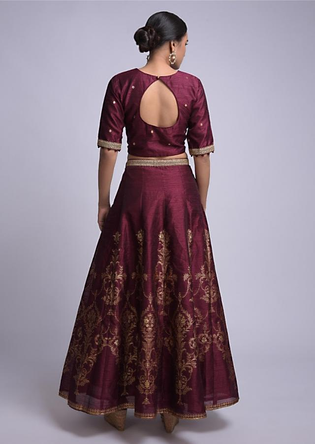 Wine Lehenga Choli With Weaved Flower Pot Motifs And Beige Silk Dupatta Online - Kalki Fashion