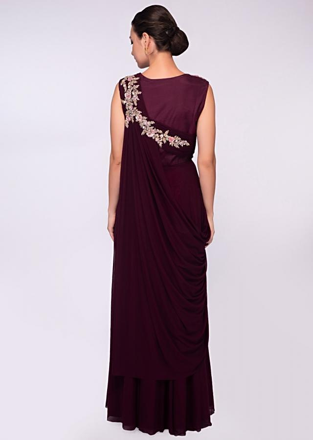 Wine lycra net gown with floral embroidered bodice only on Kalki