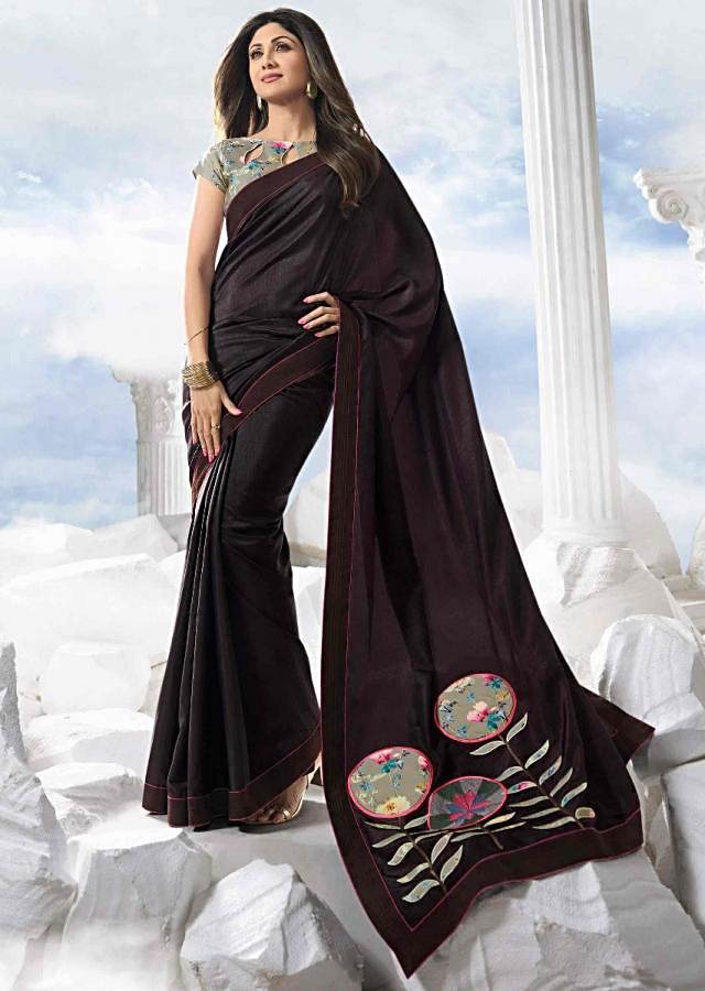 Wine Purple Saree In Silk With Silver Grey Floral Satin Blouse Piece Online - Kalki Fashion