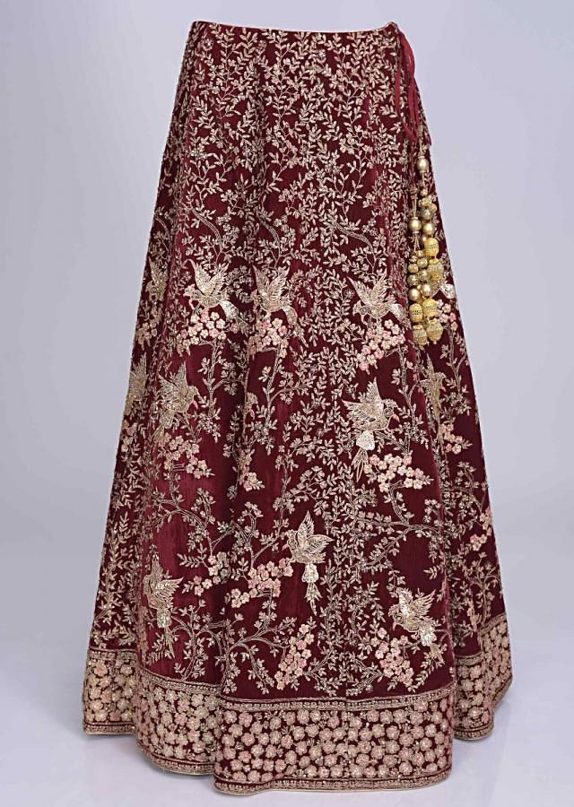 Wine Red Lehenga Set In Velvet With Embroidered Bird And Tree Pattern Online - Kalki Fashion