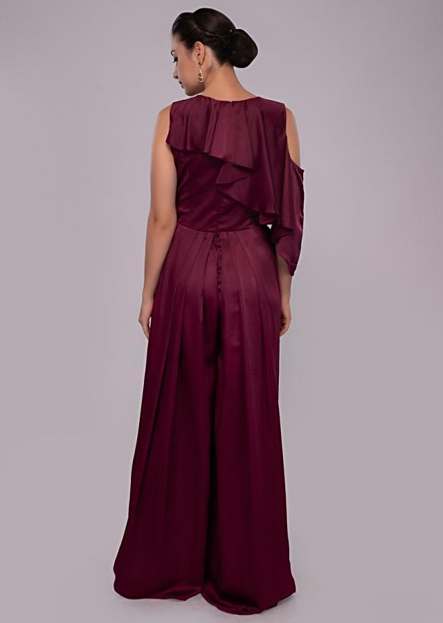 Wine satin jumpsuit with net embroidered bodice only on Kalki