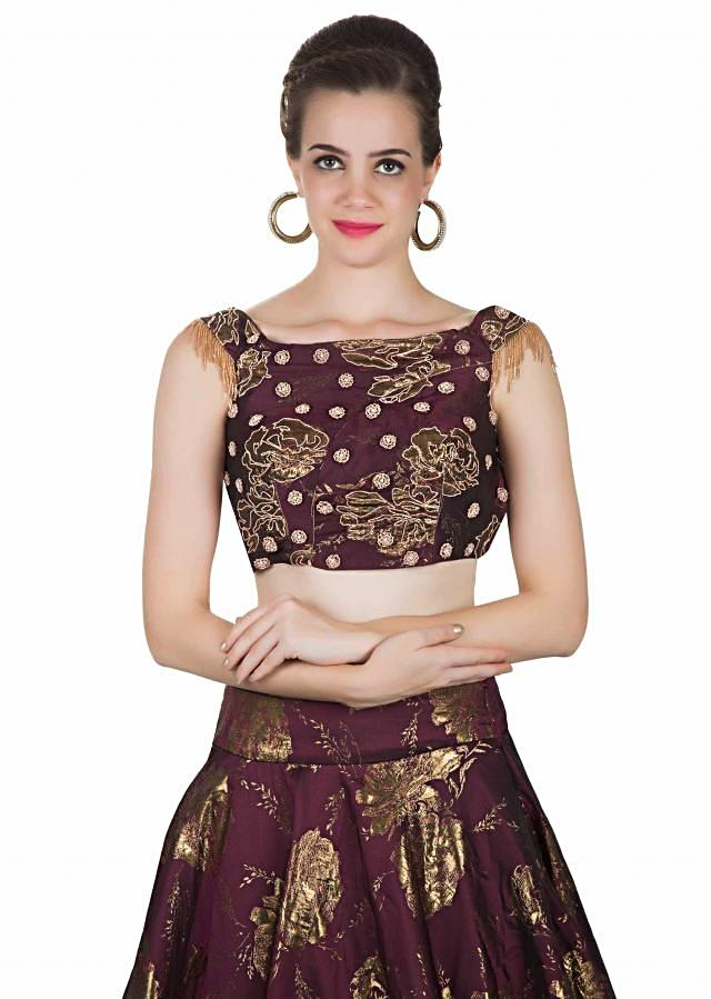 Wine Top, Dupatta And Skirt In Silk With Embroidered Butti, Tassels And Foil Print Online - Kalki Fashion