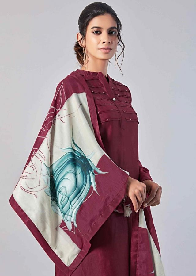 Wine Straight Suit In Cotton Silk With Pin Tucks In Horizontal Line Online - Kalki Fashion