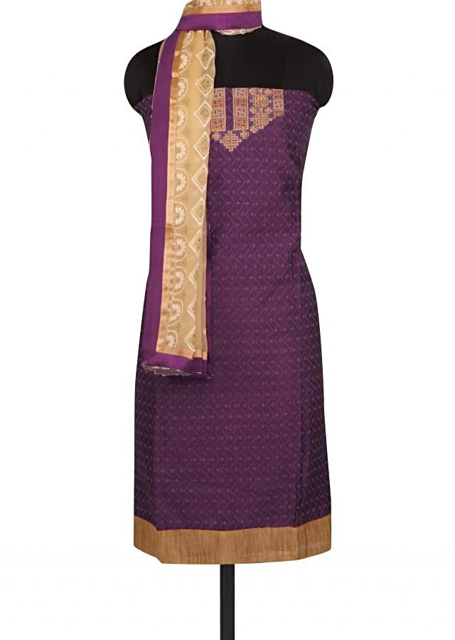 Wine unstitched suit in embroidered placket only on Kalki