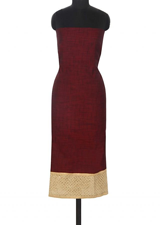 Wine unstitched suit with embroidered dupatta only on Kalki