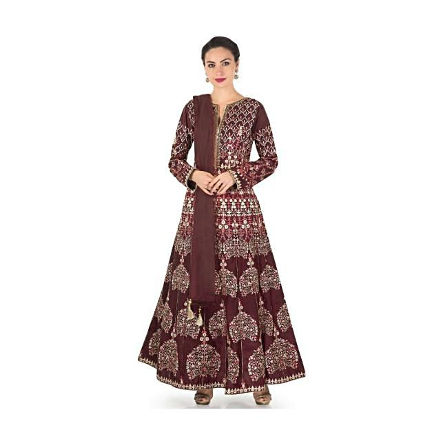 Wine anarkali suit in raw silk with turq and cream resham embroidery only on Kalki