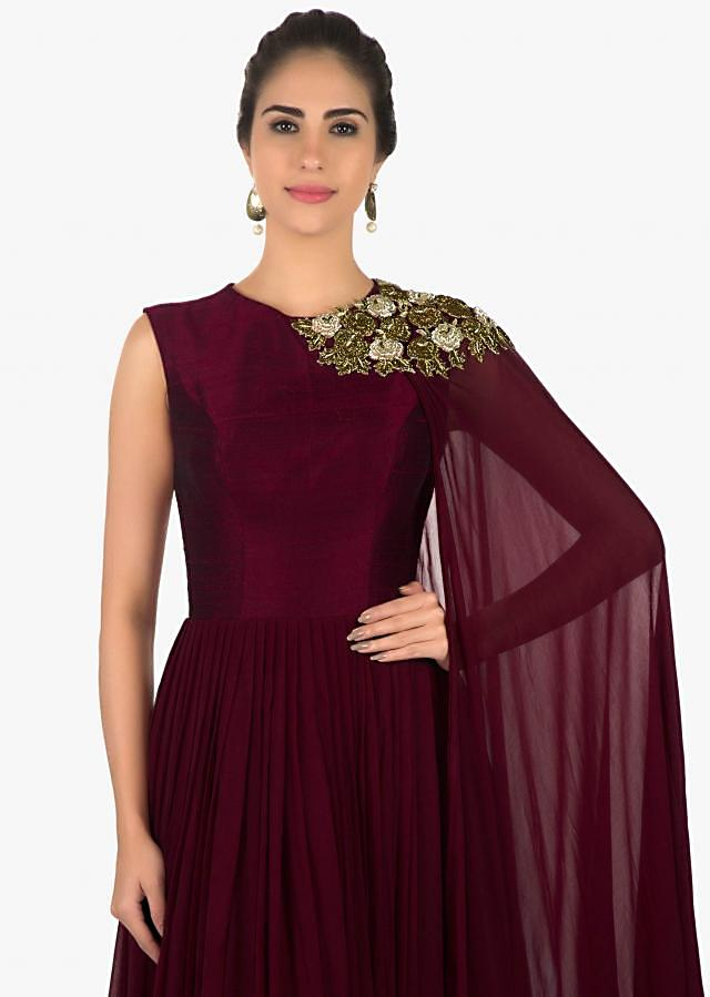 Wine anarkali suit in zardosi embroidered attach dupatta only on Kalki