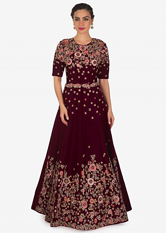 Wine anarkali suit with front slit and embroidered bodice and hem only on Kalki