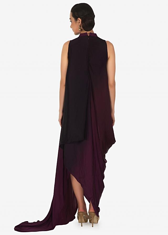 Wine and burdundy long draped dress in satin with mirror and cut dana butti only on Kalki