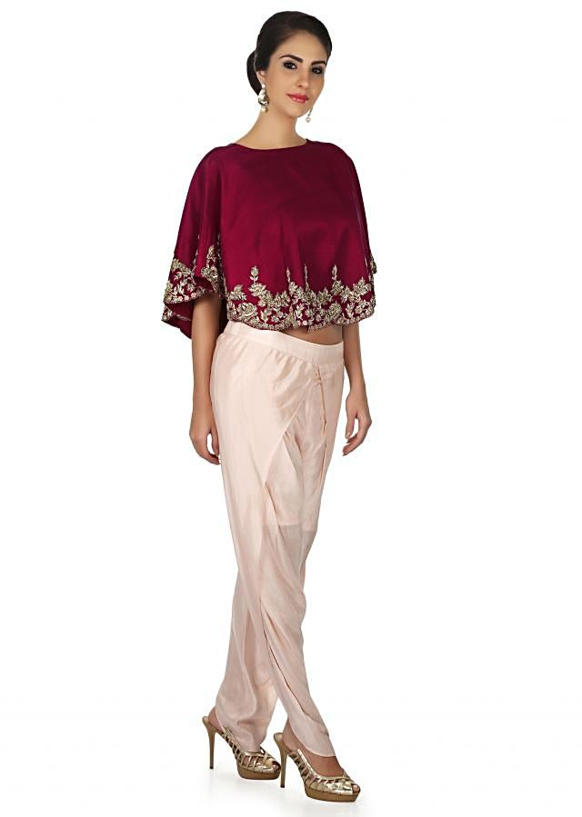 Wine cape in zardosi embroidery matched with floral motif only on Kalki