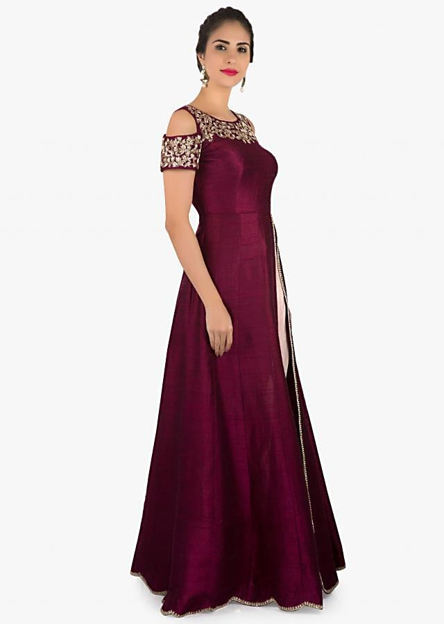 Wine cold shoulder suit with embroidered neckline only on Kalki