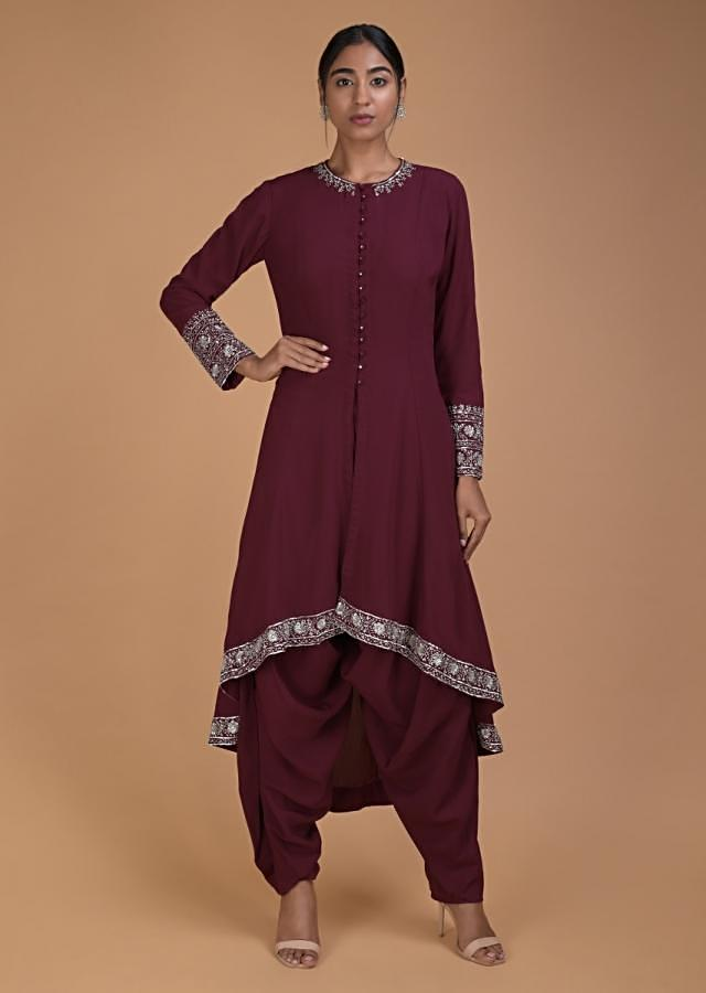 Wine Dhoti Suit With High Low Hemline Embellished With Cut Dana And Sequins Online - Kalki Fashion