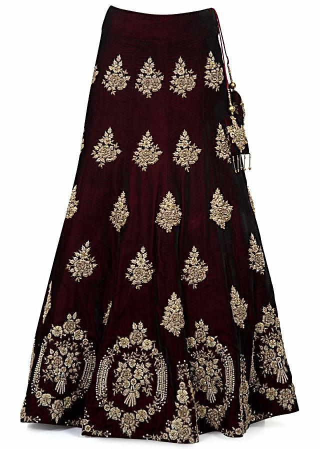Wine embroidered lehenga in floral detailing motifs only on Kalki
