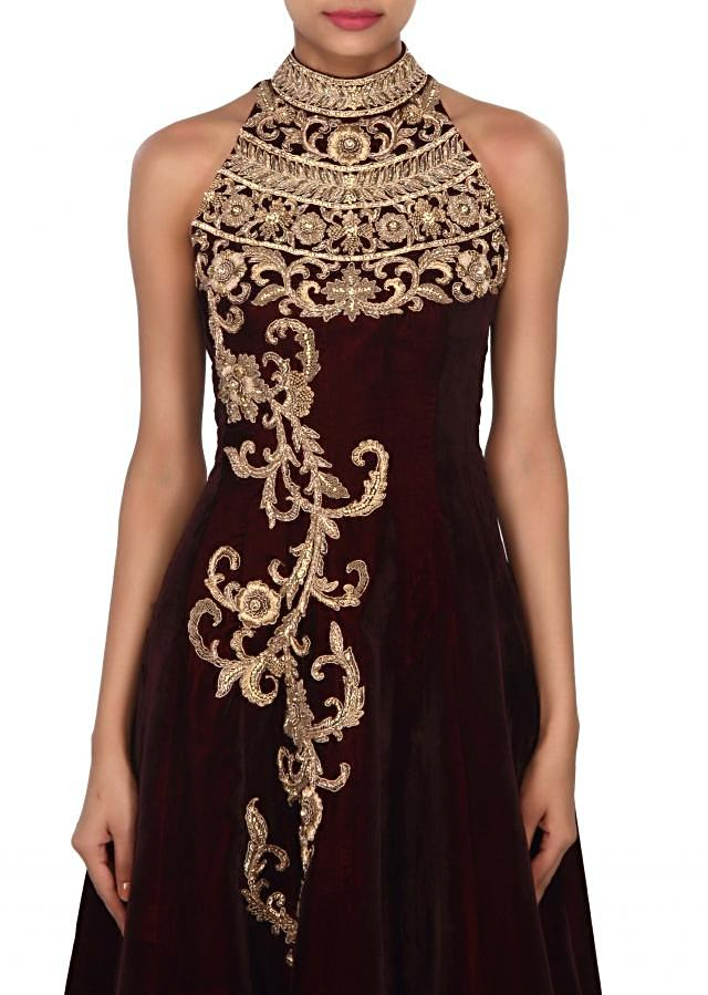 Wine gown adorn in halter neck embroidery only on Kalki