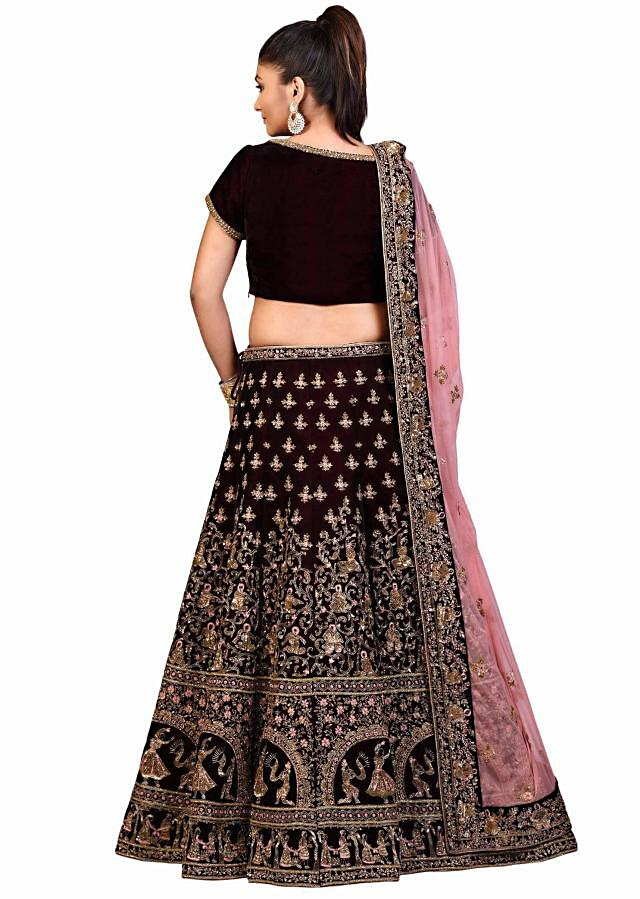 Wine lehenga in zardosi embroidery with unstitched blouse