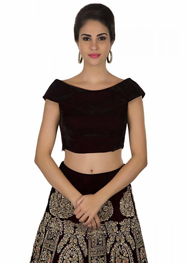Wine lehenga with pink dupatta in floral embellishment only on Kalki