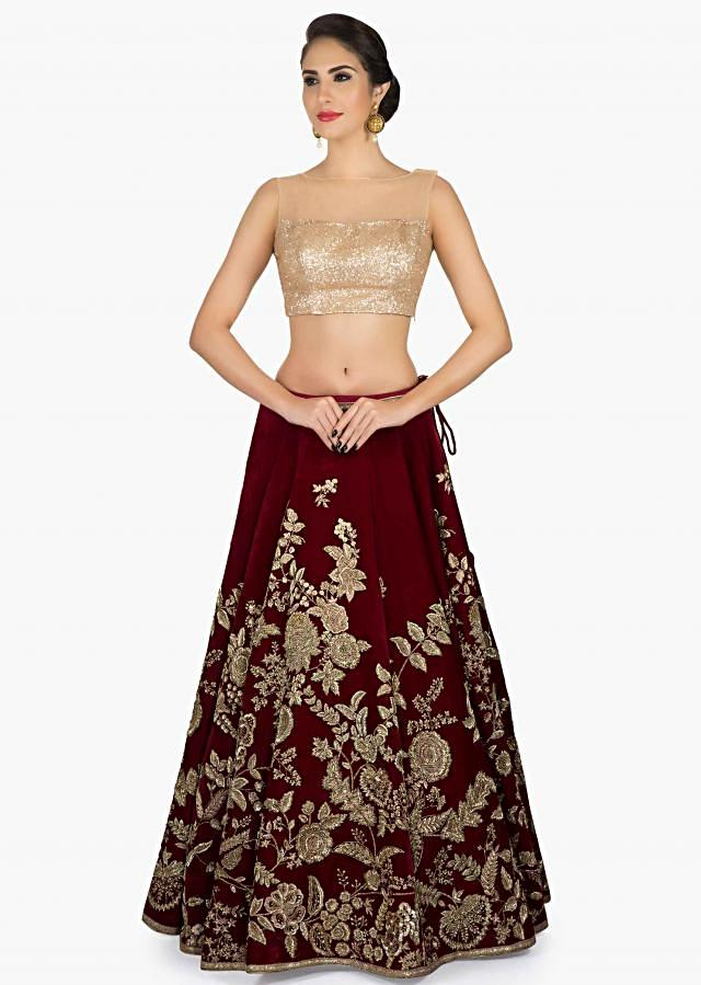 Wine Velvet Lehenga with Pink Dupatta featuring the detailed Zari Zardosi Work only on Kalki