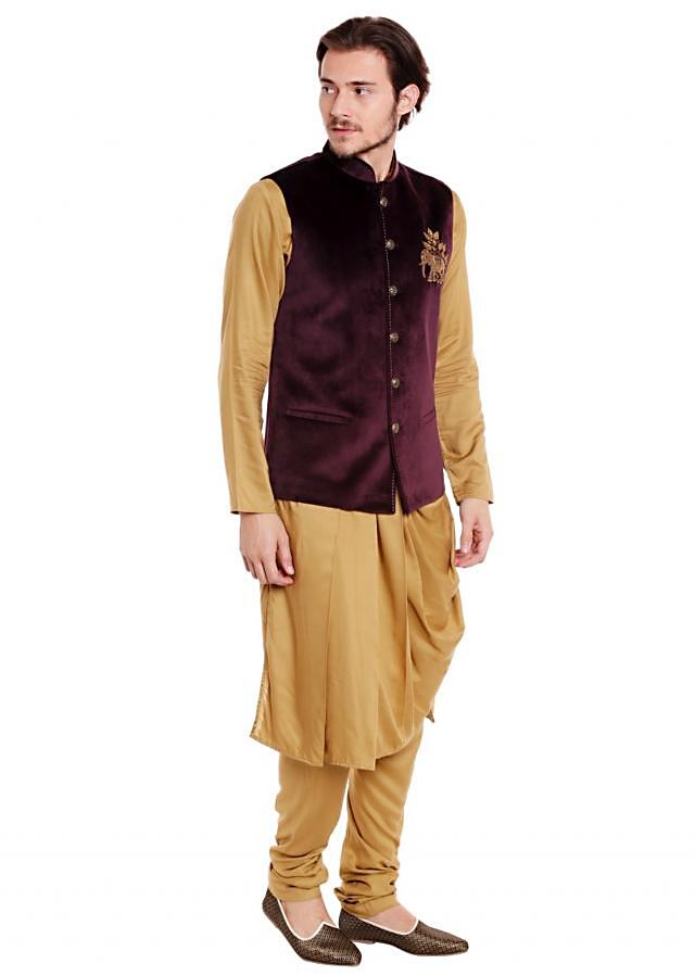 Wine waist coat in elephant motif work with cowl drape kurta set only on Kalki
