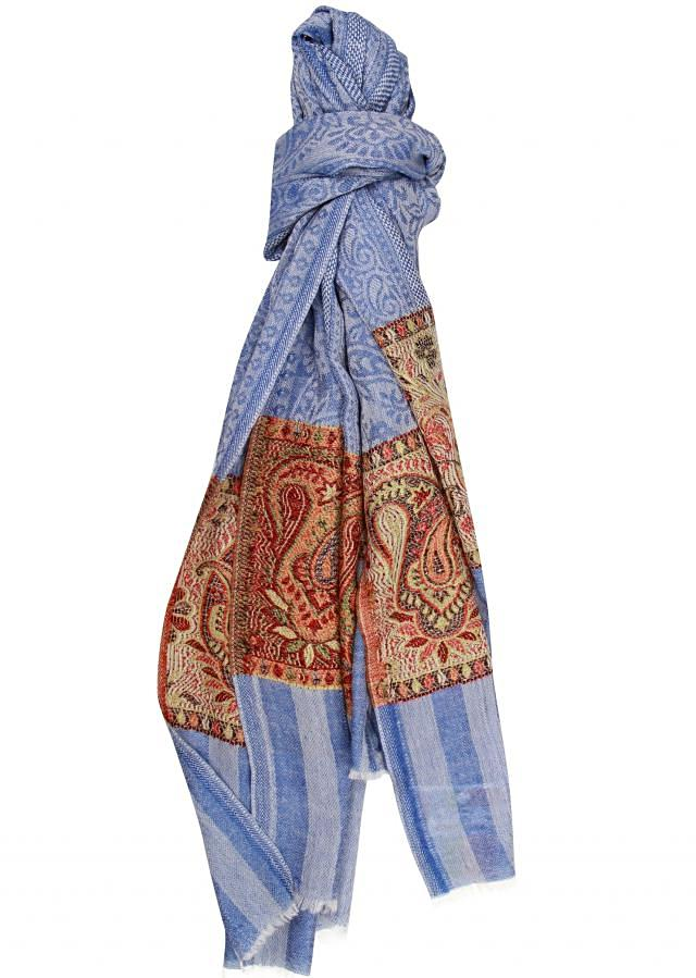 Winter shawl featuring blue viscose only on Kalki