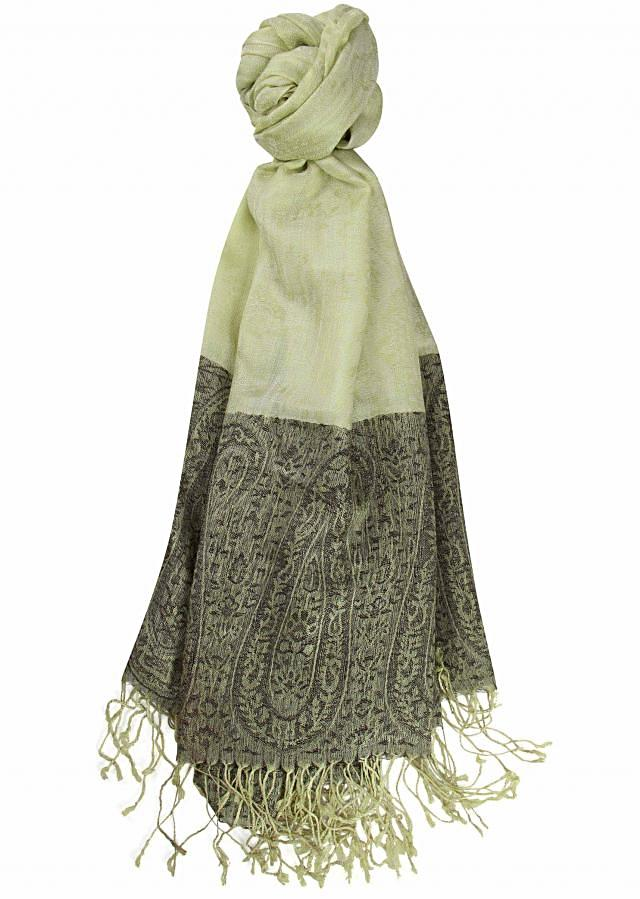Winter shawl featuring in light green viscose only on Kalki