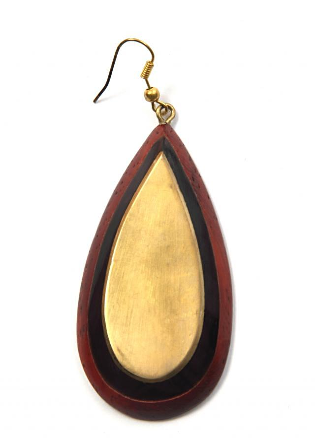 Wooden earring in shaded of brown