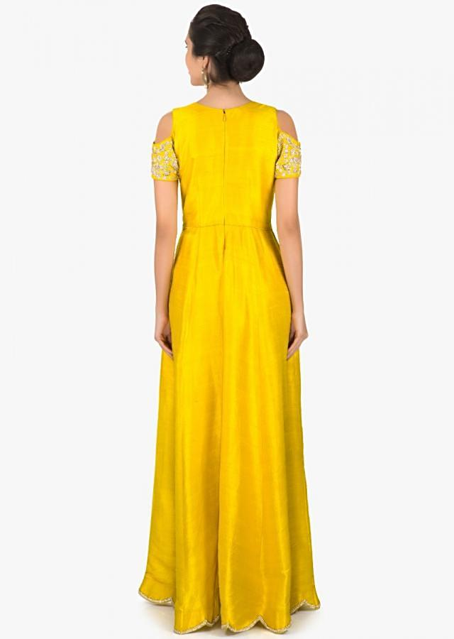 Chrome Yellow cold shoulder suit with embroidered neckline only on Kalki