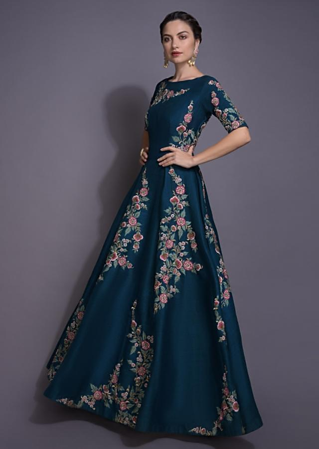 Yale Blue Anarkali Suit With Resham And Zardosi Work In Floral Pattern Online - Kalki Fashion