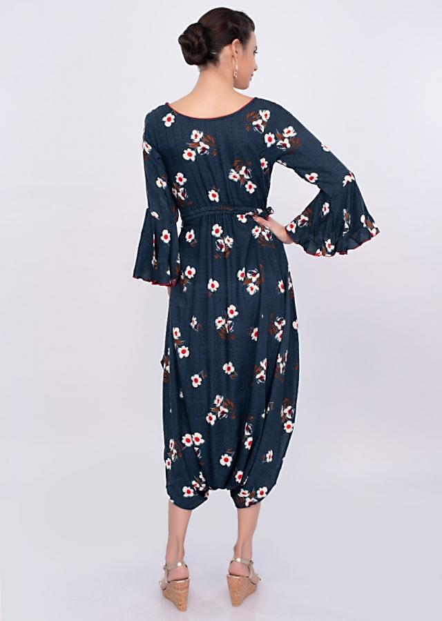 Yale blue cotton jumpsuit with digital print only on Kalki