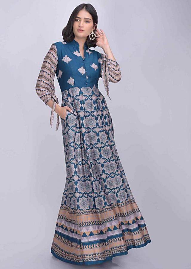 Yale Blue Anarkali Suit In Cotton Silk With Tribal Print Online - Kalki Fashion