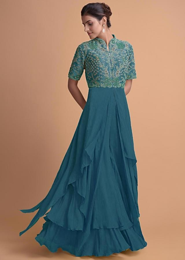 Yale Blue Jumpsuit With Georgette Layers On The Bottom And A Raw Silk Bodice Online - Kalki Fashion