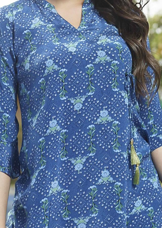 Yale Blue Short Kurti In Crepe With Bandhani Print In Geometric Motifs And Floral Print Online - Kalki Fashion