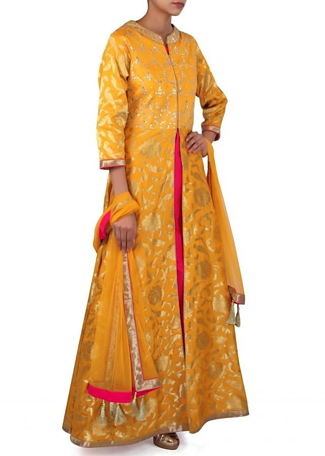 Yellow A line suit adorn in gotta patch embroidery only on Kalki