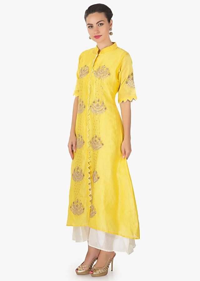 Yellow A line Kurti in gotta patch sequin work matched with white long inner only on Kalki-Yellow