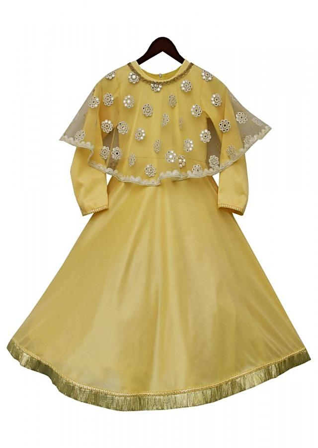 Yellow Anarkali Dress With Mirror Cape Online - Kalki Fashion