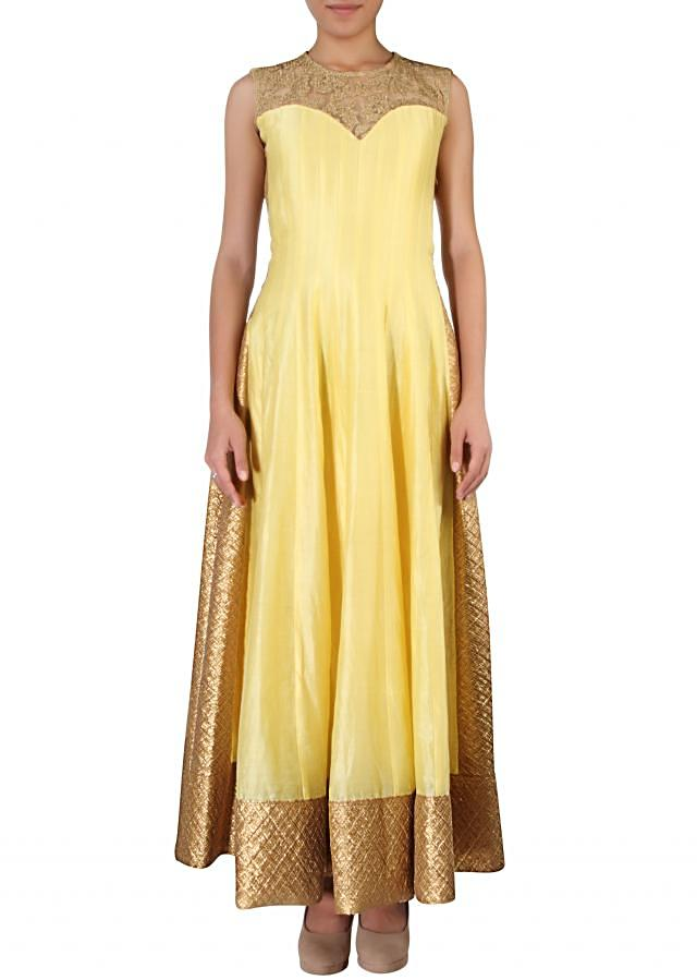 Yellow anarkali suit adorn in gotta patti lace and zari embroidery only on Kalki