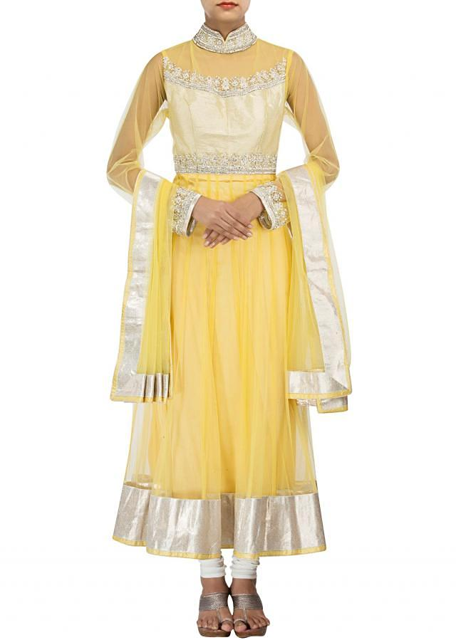 Yellow anarkali suit adorn in stone embroidery only on Kalki