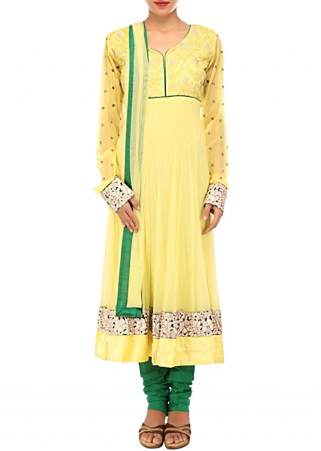 Yellow anarkali suit adorn in thread and zari embroidery only on Kalki