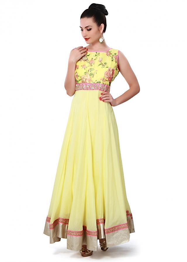 Yellow anarkali suit adorn in zardosi and floral print only on Kalki