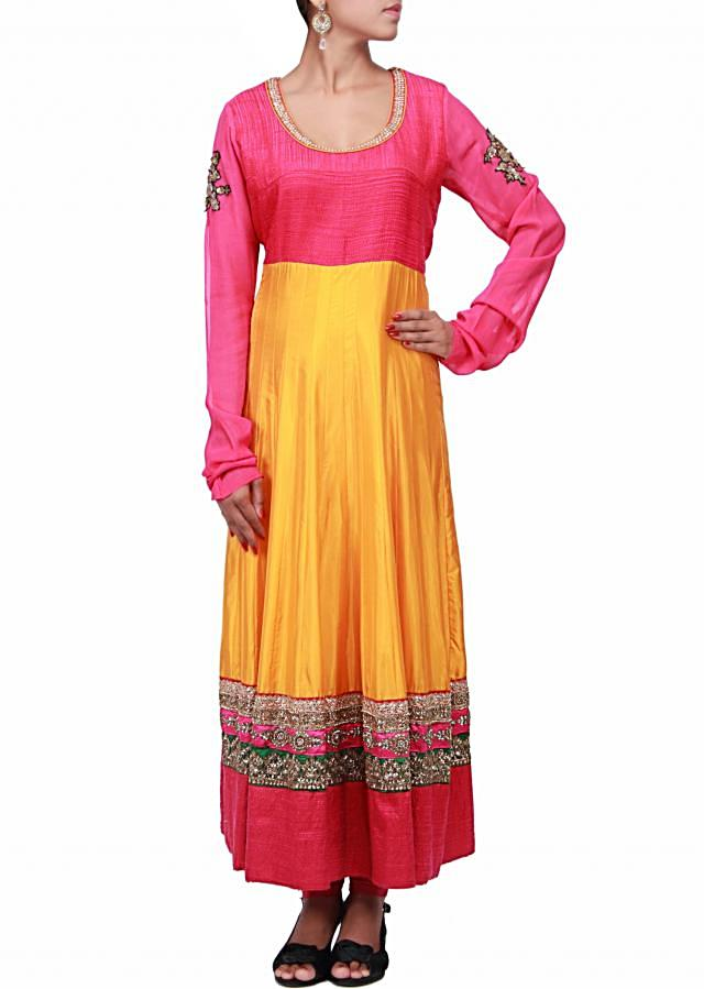 Yellow anarkali suit embroidered in kundan and thread only on Kalki