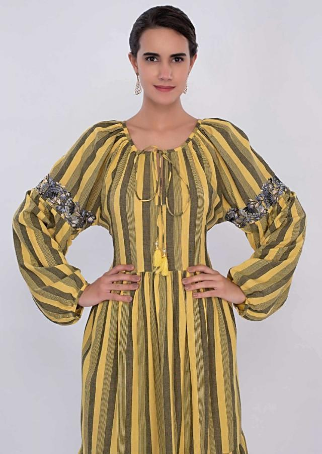Yellow And Black Tunic Dress In Cotton With Striped Pattern Online - Kalki Fashion
