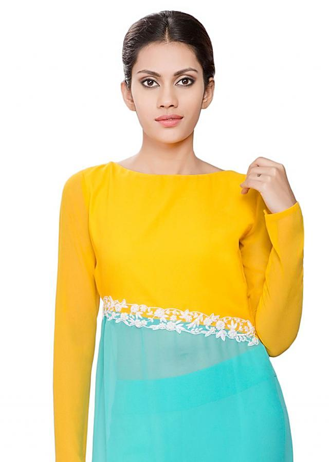 Yellow and blue cross joint tunic with white embroidery