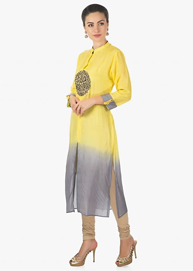 Yellow and grey kurti in mul cotton with zardosi cut work embroidery only on Kalki