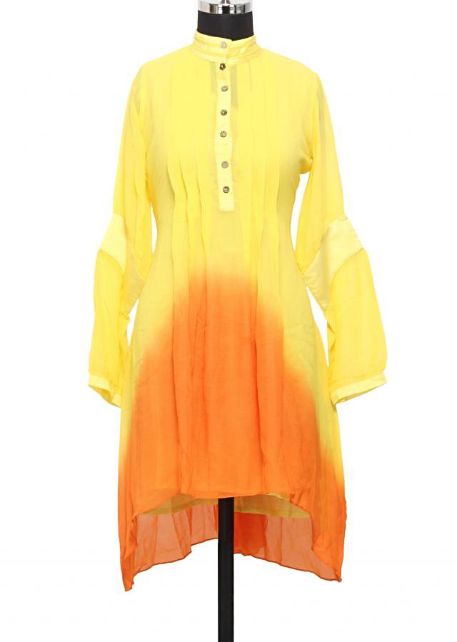 Yellow and orange shaded georgette kurti with pleats only on Kalki