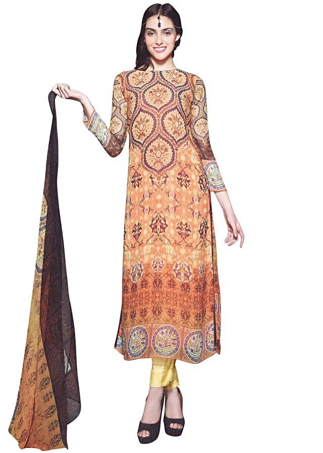 Yellow and orange unstitched suit in georgette