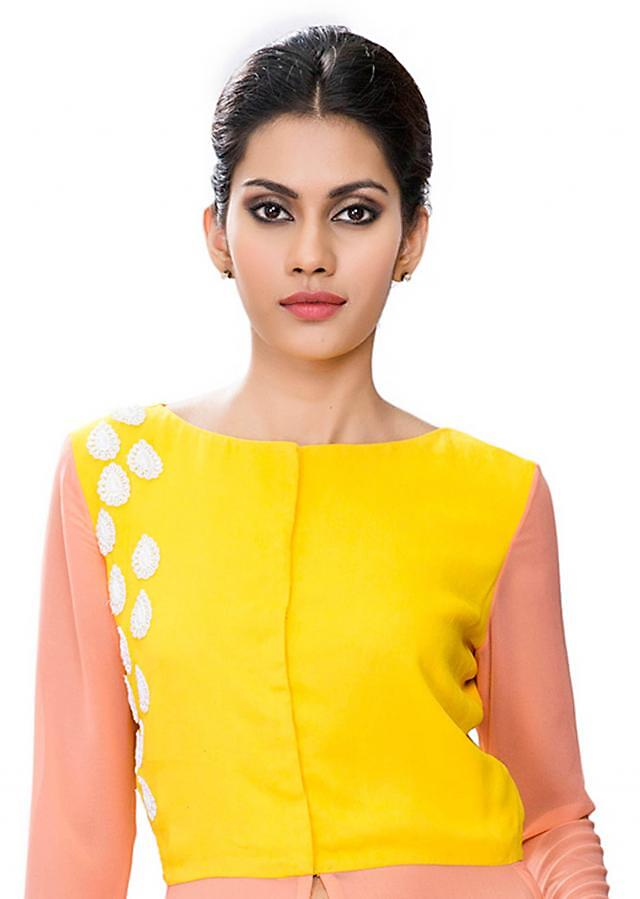 Yellow and peach tunic with front and side slit