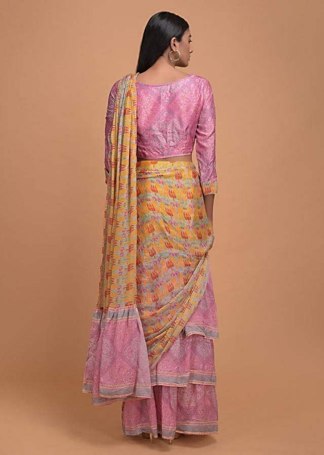 Yellow And Pink Ready Pleated Ruffle Saree In Crepe Enhanced With Floral And Paisley Print Online - Kalki Fashion