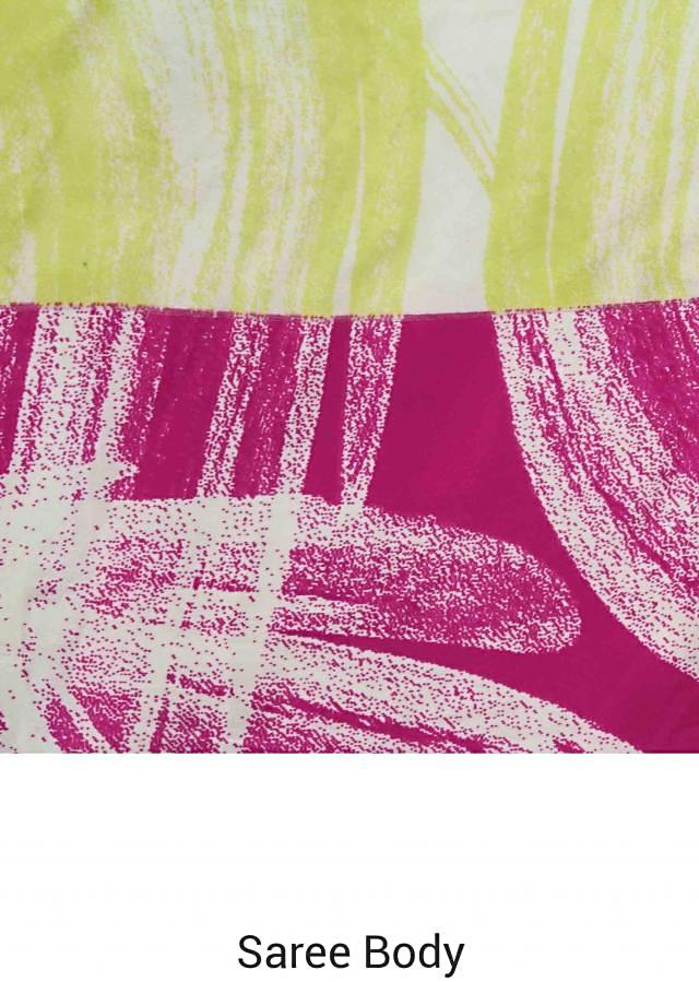 Yellow and pink saree features with abstract print only on Kalki