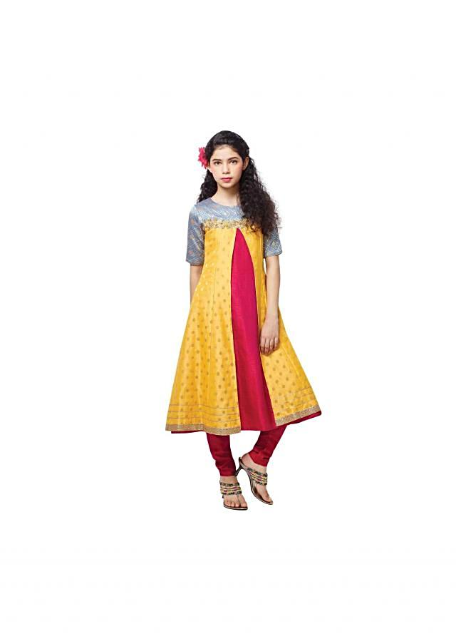 Yellow and rani pink suit in zardosi embroidery