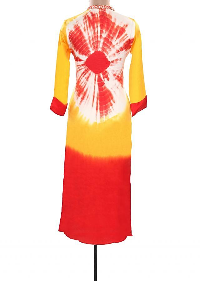 Yellow and red kurti with mirror embellished placket only on Kalki