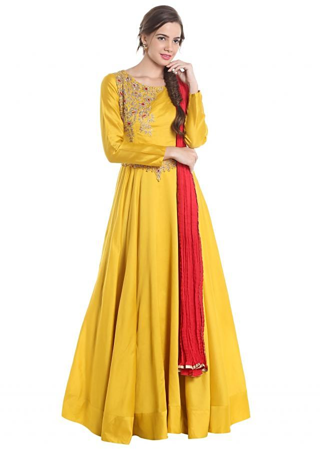 Yellow and red suit with zardosi work on belt and shoulder only on Kalki